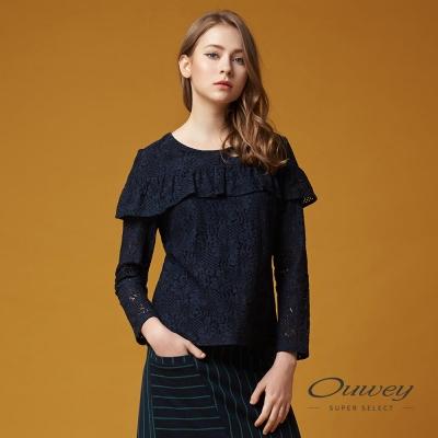 OUWEY歐薇 優雅謐藍縷空蕾絲上衣(藍)-動態show