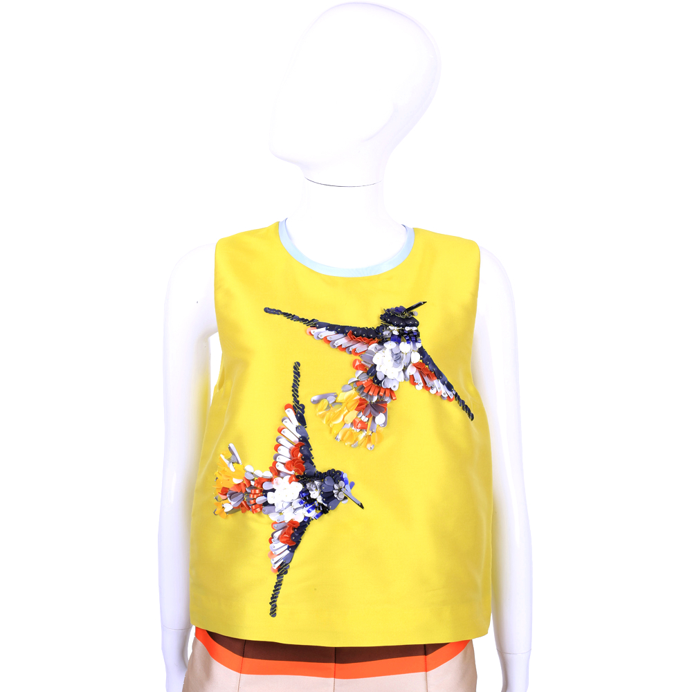 MSGM 黃色亮片小鳥造型無袖上衣
