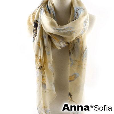AnnaSofia-飄絲緞羽-高密度織毛邊披肩圍巾-暖黃