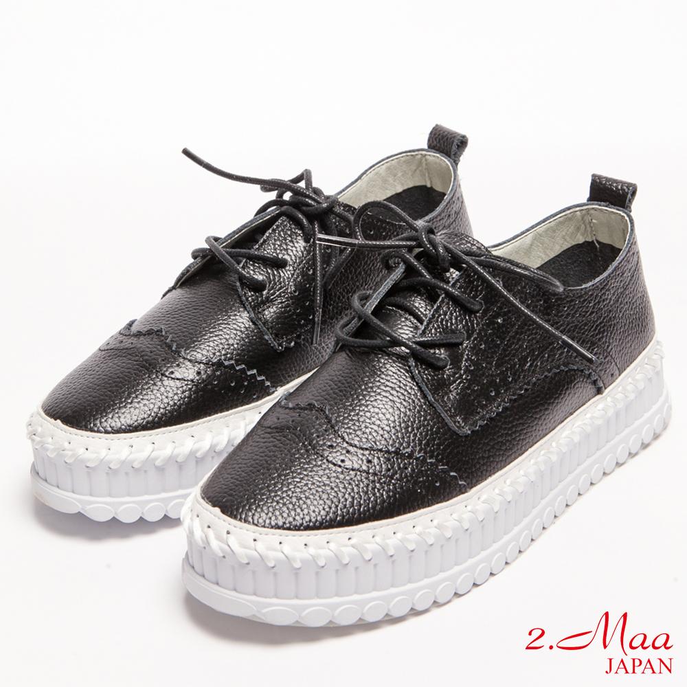 2.Maa-真皮雷射雕花綁帶厚底樂福鞋-黑
