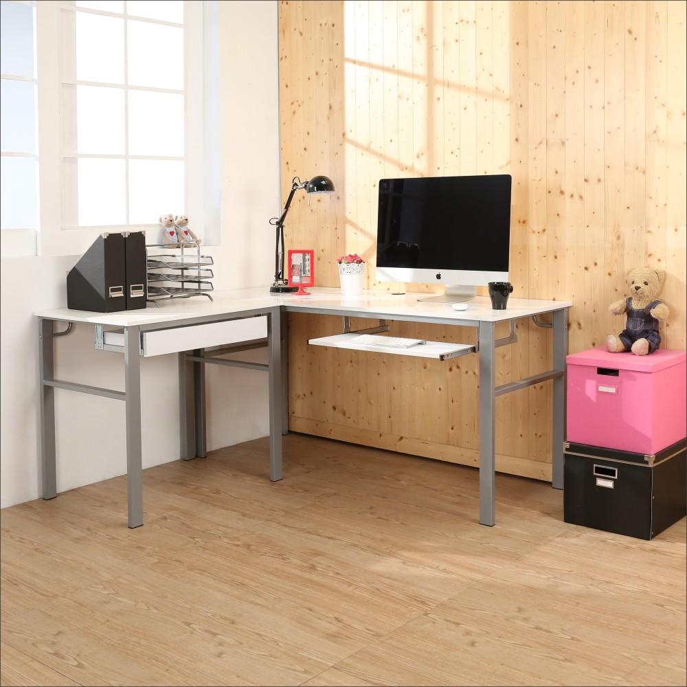 BuyJM 鏡面低甲醛160+80公分L型穩重一抽一鍵工作桌-DIY