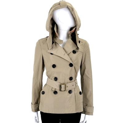 BURBERRY BRIT系列 Balmoral 短版連帽防雨風衣(卡其色)