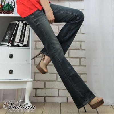 Victoria Victoria低腰寬靴型褲-女-中藍
