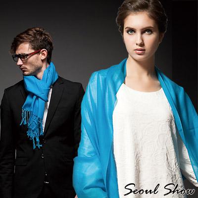 Seoul Show素色長鬚100%純羊毛圍巾披肩15色  湖藍