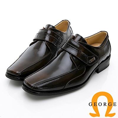 GEORGE 喬治-時尚職人系列 真皮小方楦魔鬼氈紳士鞋皮鞋-古銅
