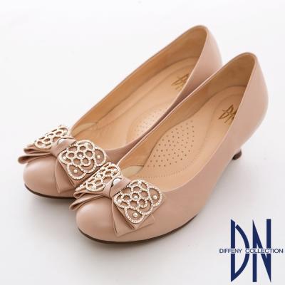 DN-精緻手工-MIT羊皮鑲鑽蝴蝶結低跟鞋-粉