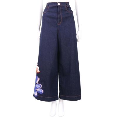 SEE BY CHLOE 藍色花朵圖騰棉質牛仔寬口褲