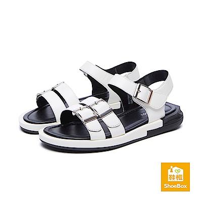 達芙妮DAPHNE ShoeBox系列 涼鞋-幾何鞋跟繞踝休閒涼鞋-白