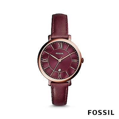 FOSSIL  JACQUELINE 賈姬風尚酒紅色玫瑰金女錶