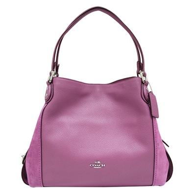 COACH EDIE 31 多夾層麂皮拼接牛皮肩背包-紫色