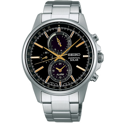 SEIKO SPIRIT 太陽能三眼計時動力儲存腕錶(SBPJ007J)-黑/41mm