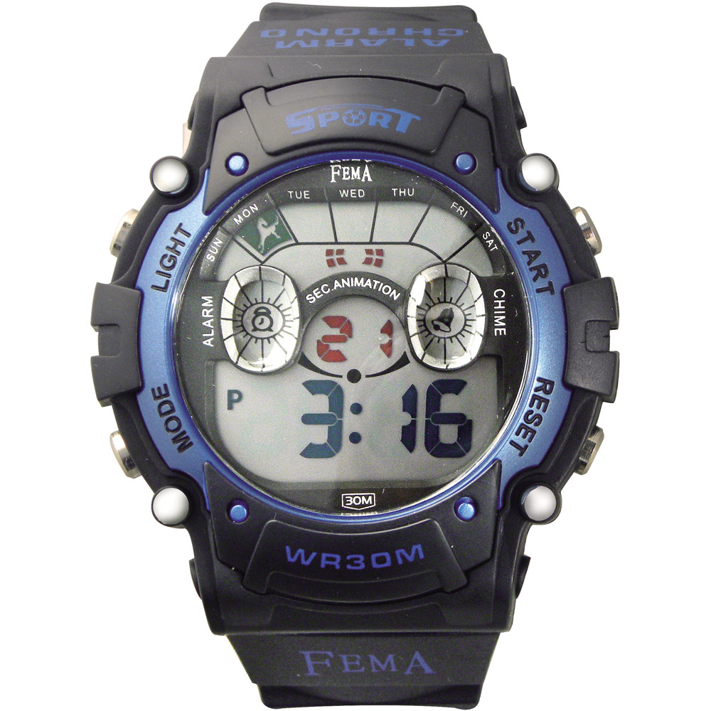 FEMA 炫彩多功能 計時鬧鈴 數位休閒錶(P278B)-黑X藍/45mm