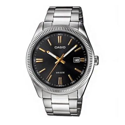 CASIO 經典城市日曆時尚紳士腕錶(MTP-1302D-1A2)-黑色X金時刻/38mm