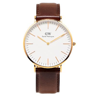 DW Daniel Wellington 經典Bristol手錶-白面X深咖啡色/40mm
