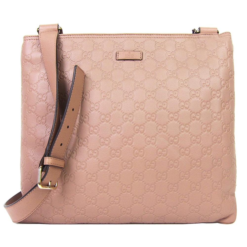GUCCI Guccissima 經典壓紋牛皮方形扁斜背包 (粉紅)