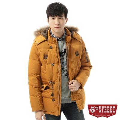 5th STREET外套多口袋造型長版羽絨外套-男-土黃色