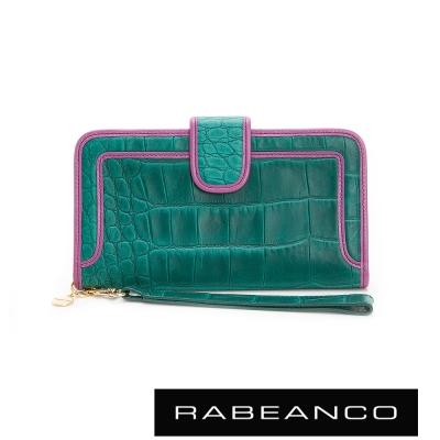 RABEANCO-經典牛皮鱷魚紋撞色長夾-綠