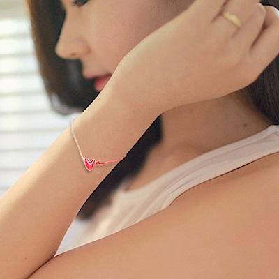 Hera 赫拉 本命年鈦鋼玫瑰金愛心紅繩手鍊紅色
