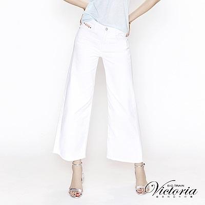 Victoria 中高腰純棉白色鬚邊寬褲-女-白色