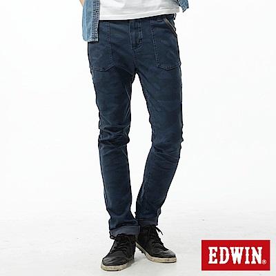 EDWIN 窄直筒 迦績褲迷彩CARGO牛仔褲-男-寶石藍