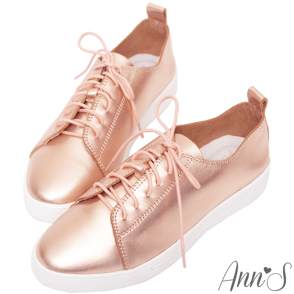 Ann'S第二代超軟真牛皮綁帶小白鞋-玫瑰金