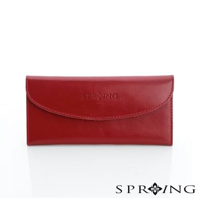 SPRING-極致簡約牛皮長夾-古典紅