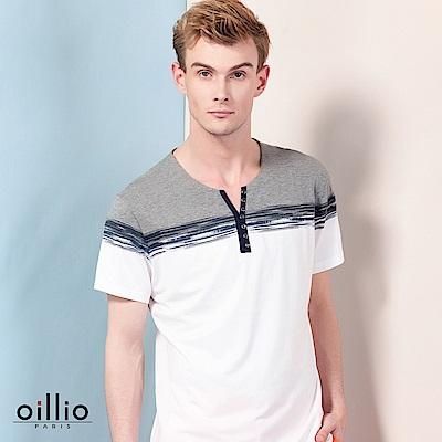 歐洲貴族oillio 短袖T恤 裝飾鈕扣 造型V領款 白色