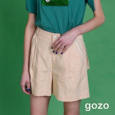 gozo 皮革貼標後口袋休閒短褲(二色)