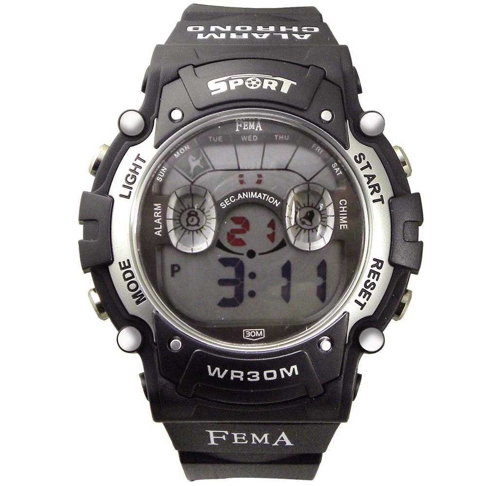 FEMA 炫彩多功能 計時鬧鈴 數位休閒錶(P278B)-黑/45mm
