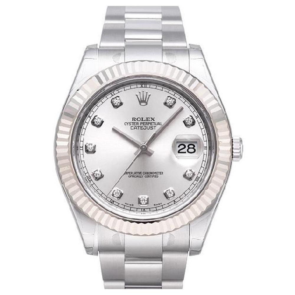 ROLEX 勞力士 Datejust II 116334 蠔式恆動日誌型鑽面腕錶-銀/41mm