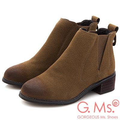 G.Ms. 擦色拼接鬆緊帶踝短靴-駝色