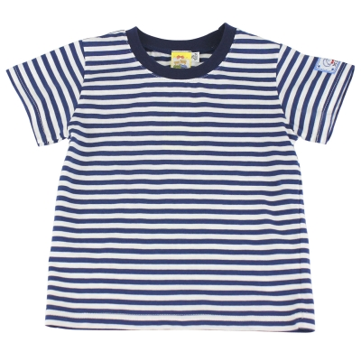 愛的世界 MYBABY 賽艇純棉橫紋圓領上衣-深藍/4~6歲