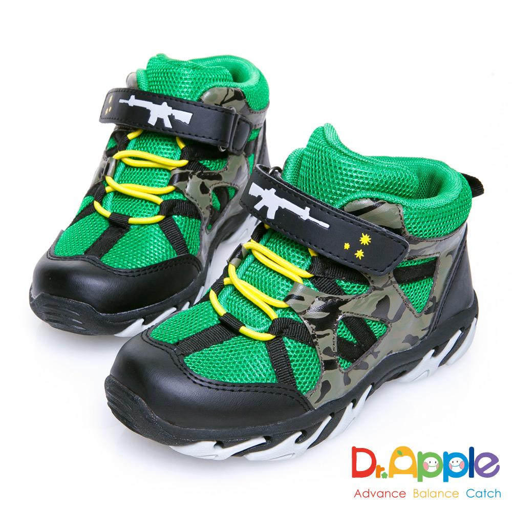 Dr. Apple 機能童鞋 阿兵哥帥氣迷彩步槍中筒童靴款 綠