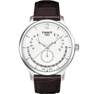TISSOT Tradition 逆跳星期萬年曆石英腕錶-白/42mm