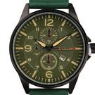 CURREN 卡瑞恩 極速時光 簡約皮革男錶 綠41mm
