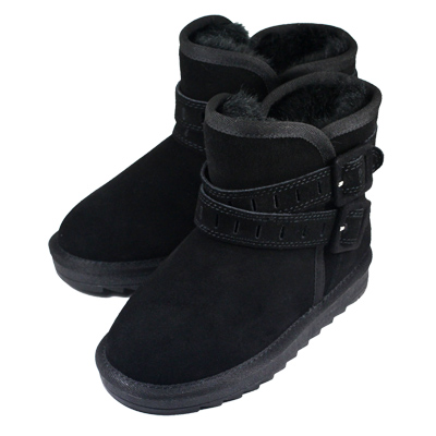 Swan天鵝童鞋-大童_雙帶釦環真皮雪靴8689黑