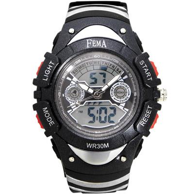 FEMA 炫彩流行 計時鬧鈴 雙顯運動錶(P308GA)-黑/37mm