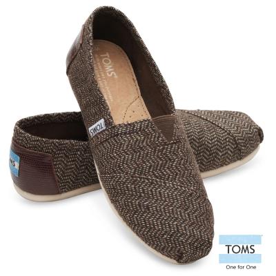 TOMS 織紋拼接皮革帆布懶人鞋-女款(棕)