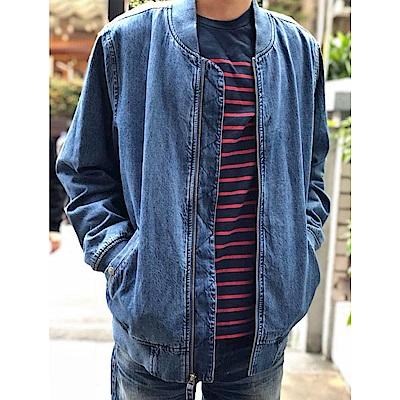長袖T 男裝 藍紅條紋 - Levis