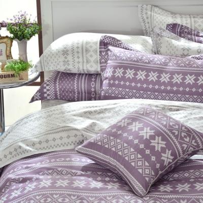 GOLDEN-TIME-烏克蘭印象-紫-精梳棉-單人三件式兩用被床包組