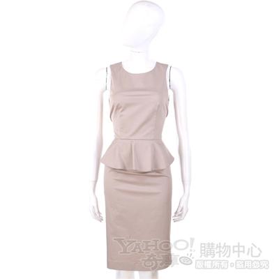 NINA 卡其灰色荷葉造型腰飾無袖洋裝