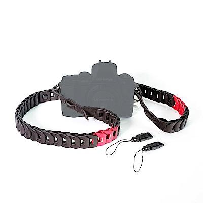 Cam in LCS-045201真皮相機背帶(紅黑色/附扣繩)