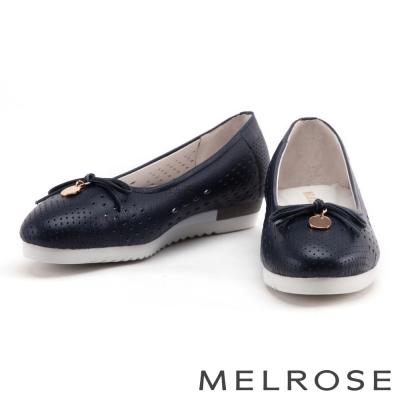 娃娃鞋 MELROSE 蝴蝶結金屬圓飾全真皮娃娃鞋-藍