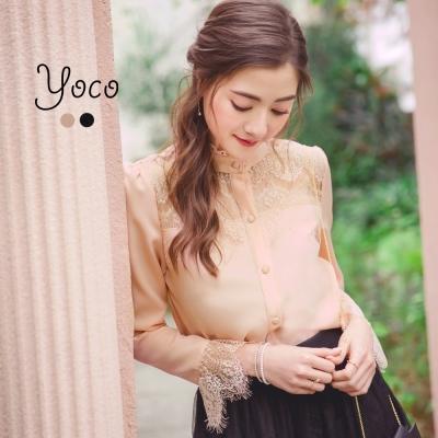 東京著衣-yoco 柔美花朵領睫毛蕾絲襯衫-S.M.L(共二色)