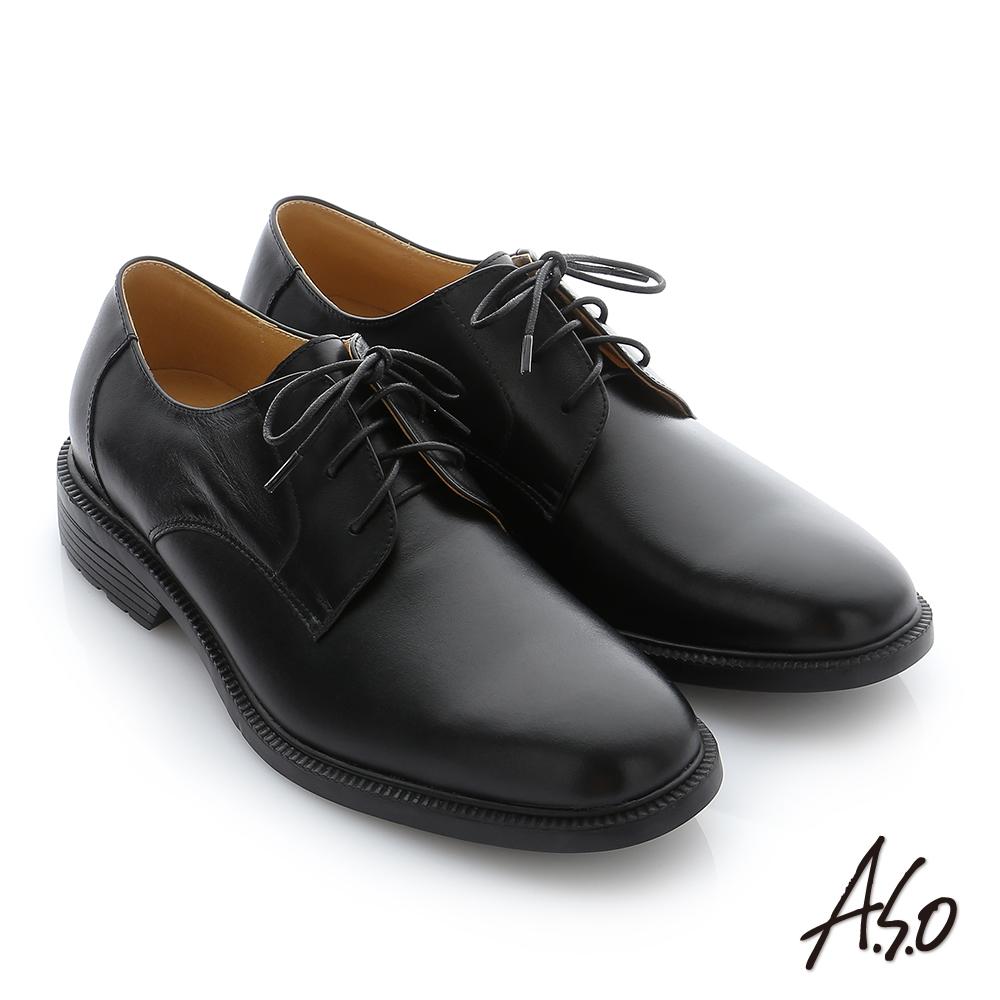 A.S.O 學生鞋 真皮素面綁帶通勤鞋 黑軟皮