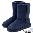 Camille's 韓國空運-正韓製-2WAY麂絨中筒雪靴-深藍