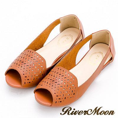River&Moon涼鞋-韓系幾何簍空洞洞露趾平底涼鞋-黃棕