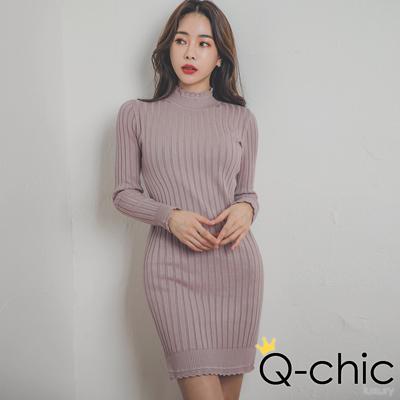 正韓 甜美花邊高領針織坑條洋裝 (共二色)-Q-chic