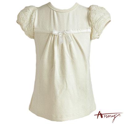 Annys華麗蕾絲網紗公主袖上衣*3262米白