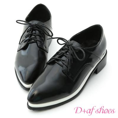 D-AF-紳士定番-夾心底尖頭綁帶牛津鞋-黑白